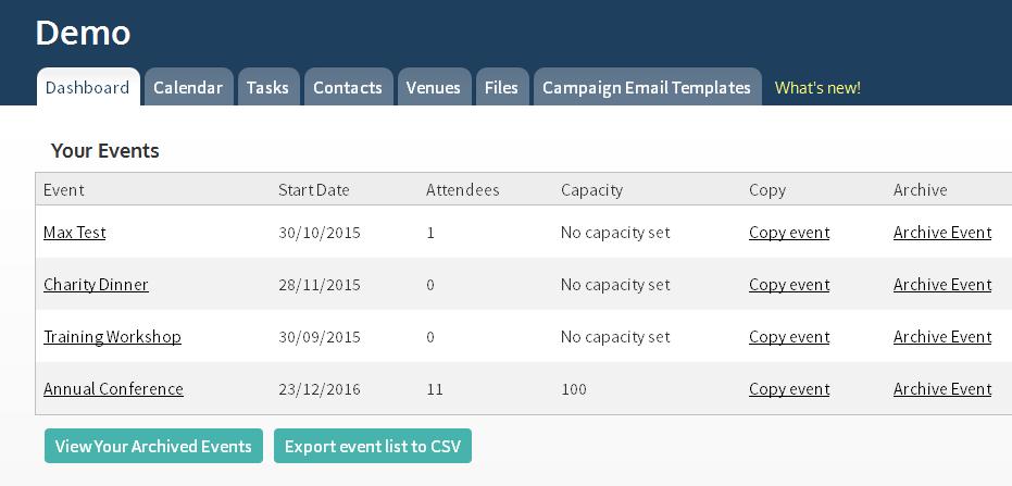 Event export report