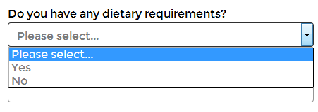 Yes No selection list on the booking form