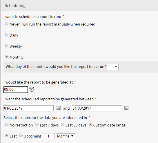 You can now schedule reports to show data from the previous month, week, or number of days