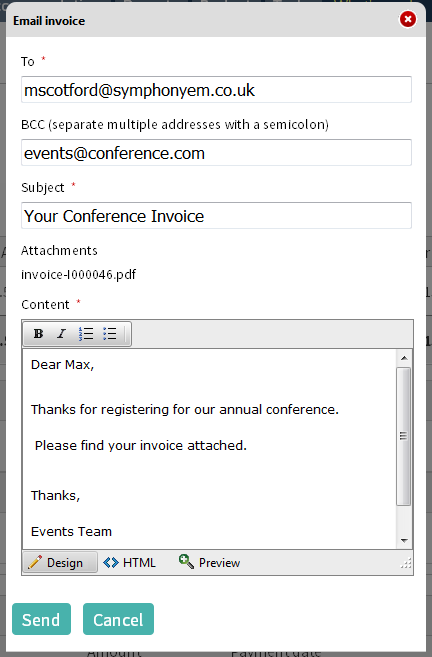 We have made this screen a little bigger now so you can resend your invoices.